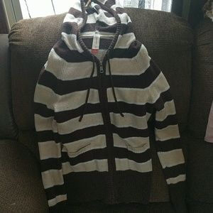 Stripe zip up sweater